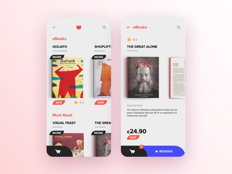 Bookstore App app mobile bookstore book shop ux ui