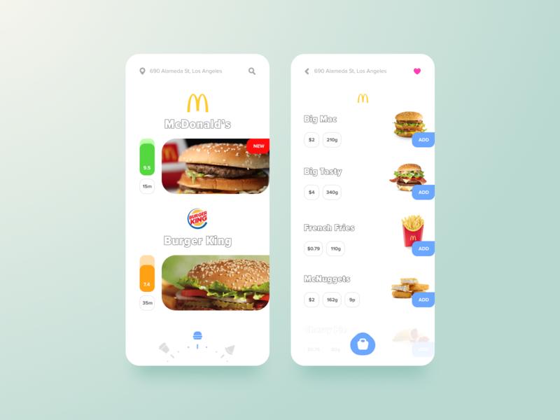 Food App mobile figma burger shop mcdonalds food app ux ui