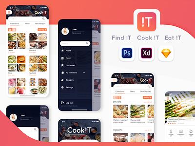 Recipe Mobile App user inteface user experience sketch photoshop xd search tab tabs sort by hamburger menu ipone x logo design web app ui ux