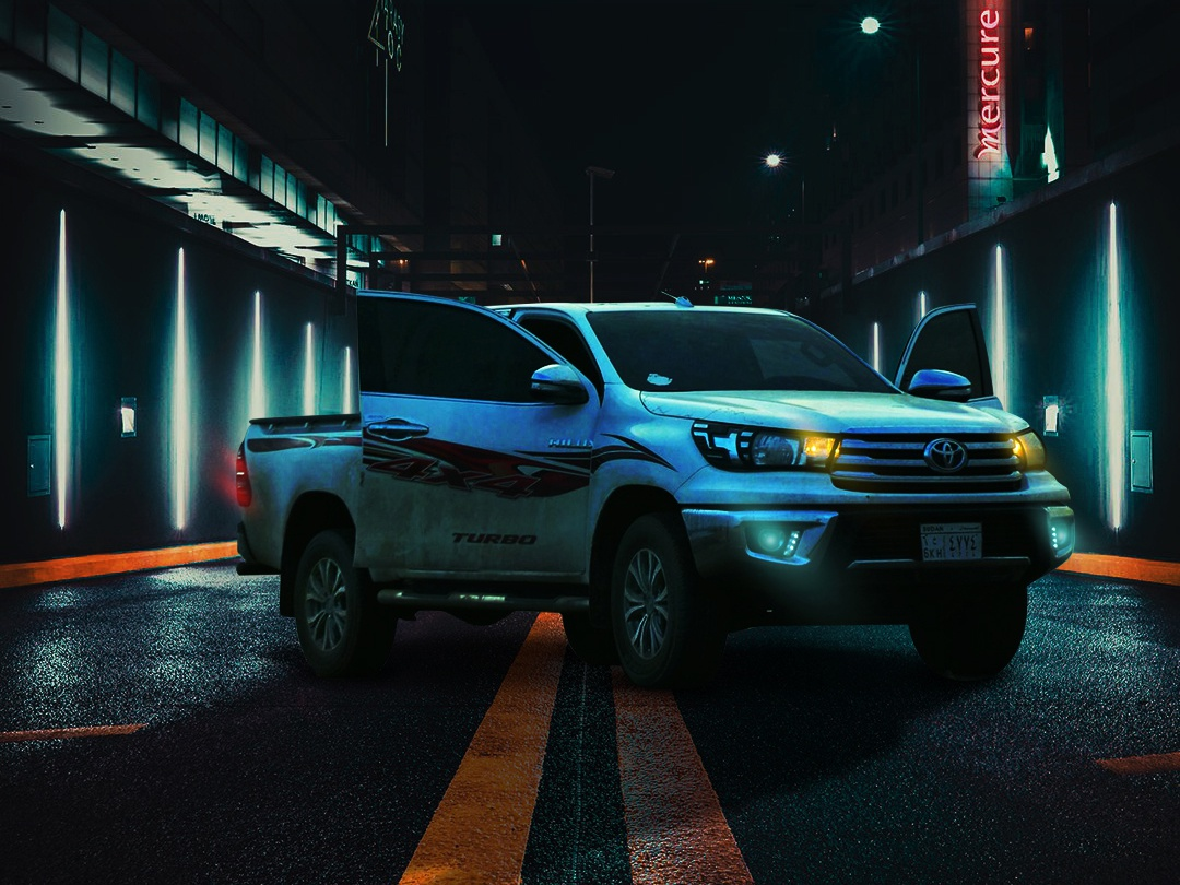Toyota Hilux : tough pickup with a stylish look retouch digital art digital manipulation design