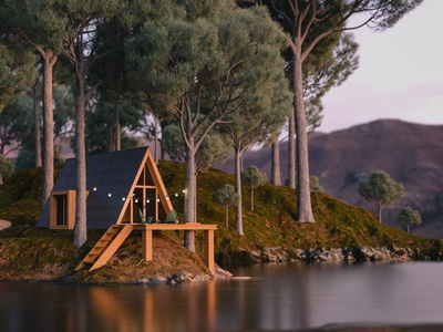 Lakeside A-Frame cabin octane render cinema 4d octane 3d