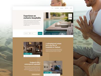 Diversify my design skills resort marine green beige braun landing page homepage ui design aktiv grotesk playfair interface design hotel redesign