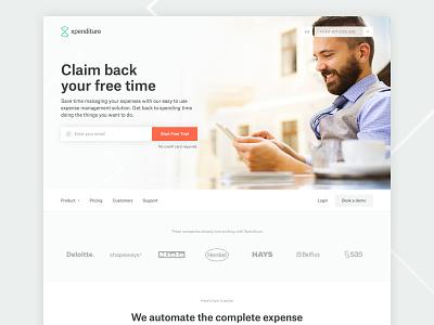 SaaS Marketing Site - Xpenditure saas green orange user interface design atlas grotesk homepage landing page art direction ui web design