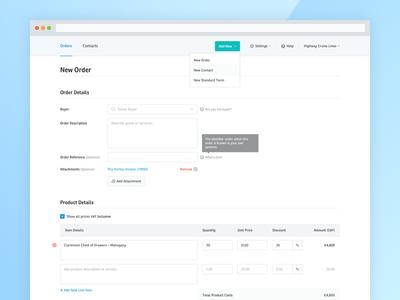 Yordex – Add New Order – Web App