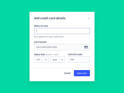 Add Credit Card – Web App Settings
