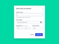 Add Credit Card – Web App Settings