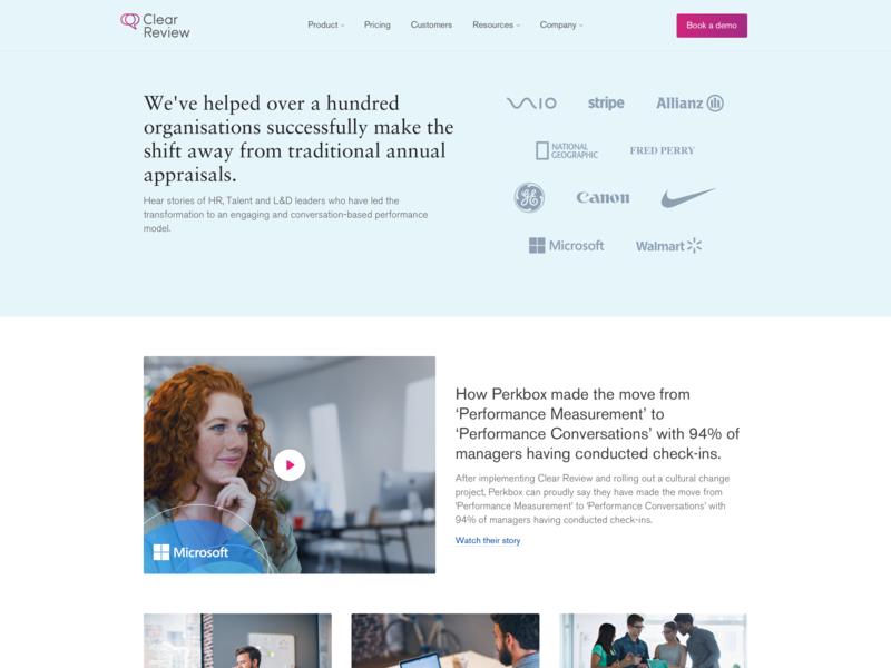 Customers Page marketing site web design ui design art direction user interface design saas