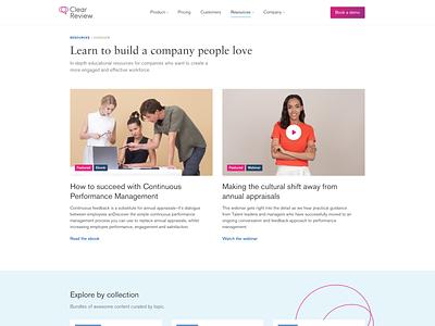 Resources Overview Page user interface design ui design art direction saas web design marketing site
