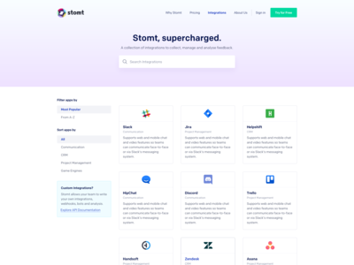 SaaS Integrations Page