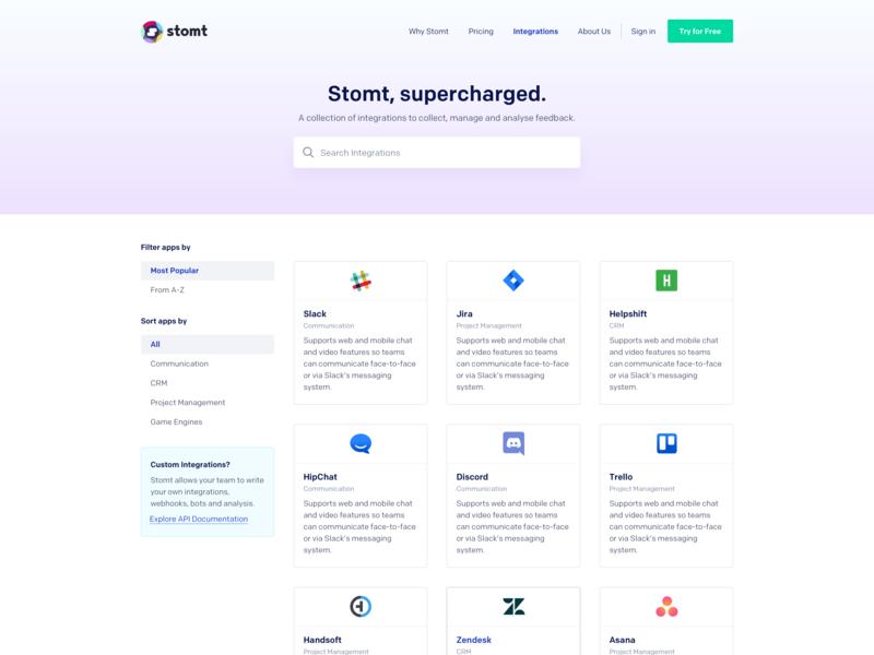 SaaS Integrations Page