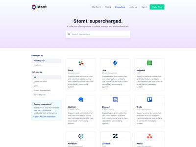 SaaS Integrations Page ui user interface design ui design art direction web design saas