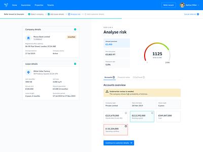 Analyze Risk - Product Dashboard dashboard fintech user interface design finance ui design ux web app insurance product design