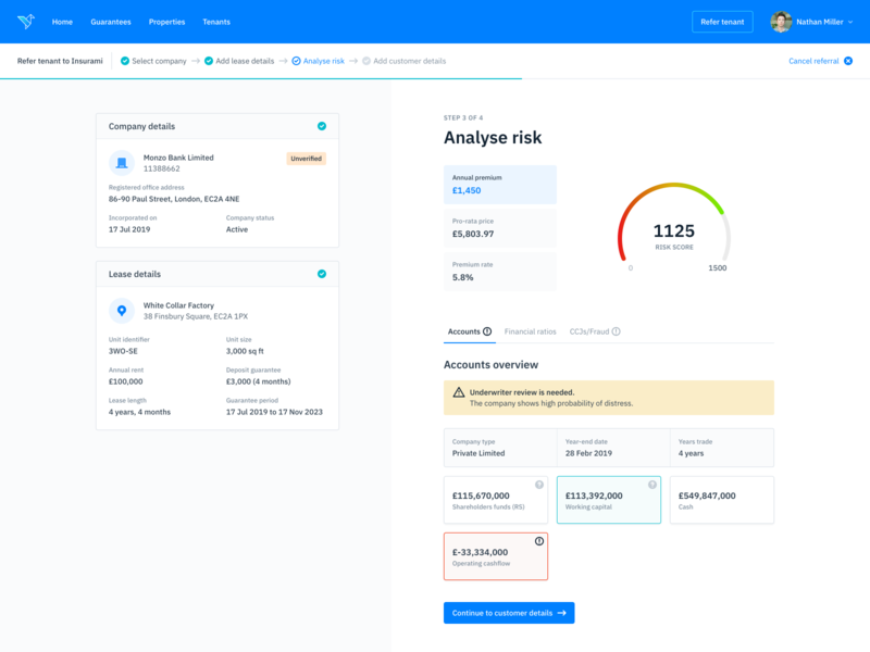 Analyze Risk - Product Dashboard