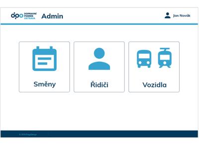 Public transport admin page