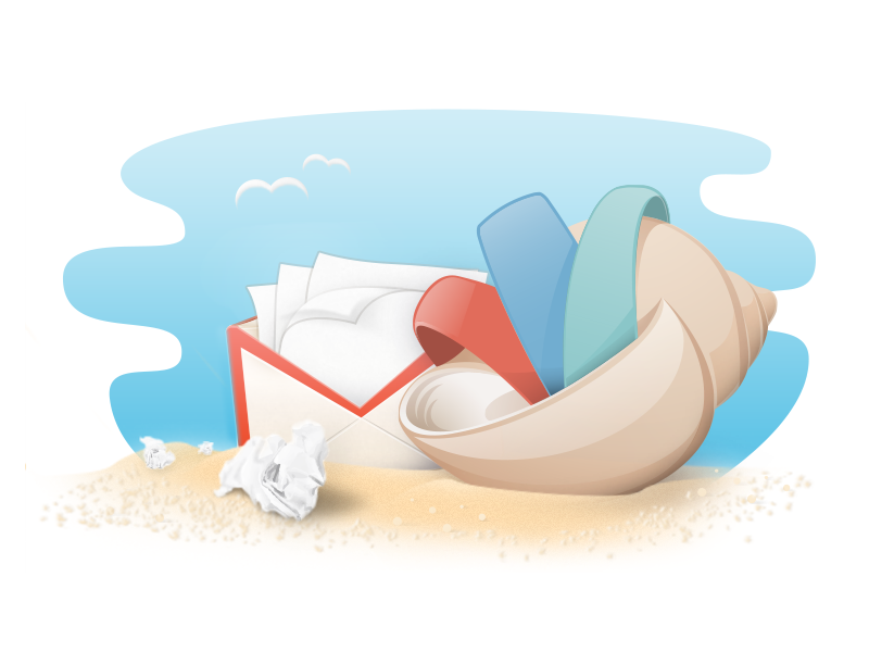 Gmail Shell Alternate Style shell beach paper envelope gmail sand birds cartoon cartoony light