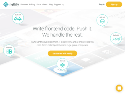 Brand Spankin' New Marketing Website for Netlify malala react gulp hugo jekyll middleman clean simple frameworks perspectival perspective tiles
