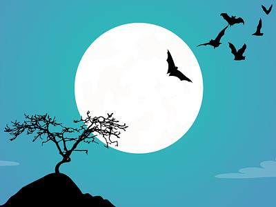 So simple it's spoooooky! spooky moon tree bats silhouette interwebz simple halloween happy netlify