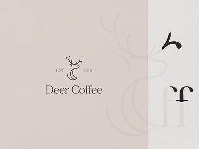 Deer Coffee illustration symbol design symbol logo grid logo logodesign deer logo coffee