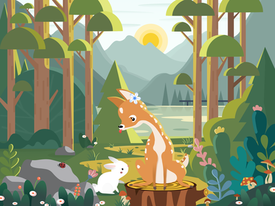 Deer and Spring day in the woods illustration hope sunlight forest happy warmth spring rabbit tree deer design animal