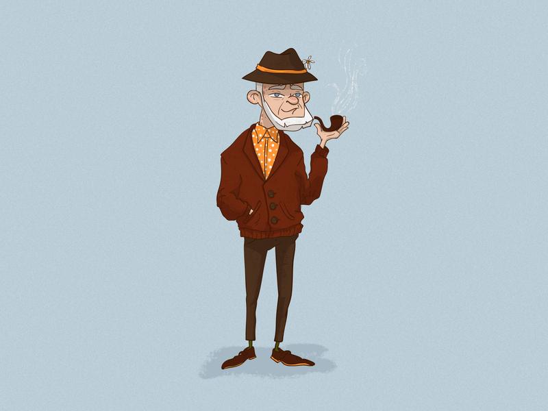 grandfather cartoon character illustration gentleman bearded man beard smoke grandfather digitalart characterdesign illustration