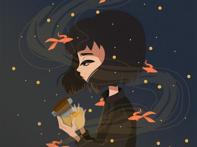 light dream dreams fishing catch sky night fish light believe cute digitalart characterdesign illustration