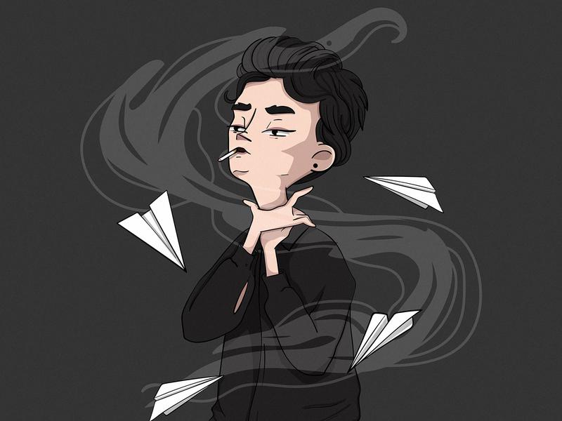 smoke black paper plane characterillustration smoking night aeroplane fly smoke digitalart characterdesign illustration