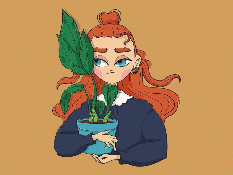green love character red hair flower green girl cartoon digitalart characterdesign illustration