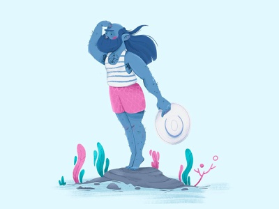 Sailor illustration art cartoon artwork beach ocean sea mermaid sailor digitalart characterdesign illustration