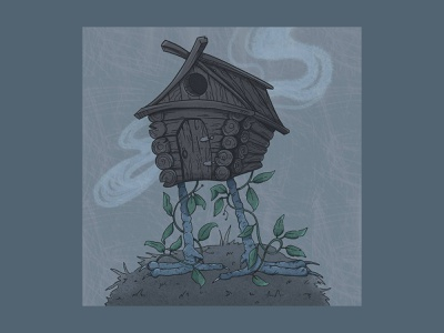 house of baba yaga digitalart house illustration night baba yaga tales story rustic house illustration