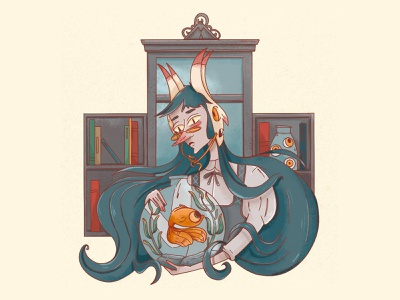 witch illustration art character witchcraft magic fish witch digitalart characterdesign illustration