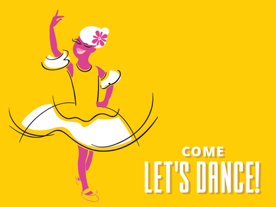 Come Let's Dance icon design branding character illustration