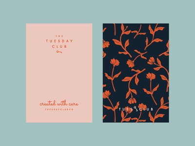 The Tuesday Club - Created With Care pink spring cute feminine minimal brand branding design print branding logo pattern design pattern floral pattern flower pattern flowers floral print ready print design leave behinds pin backs