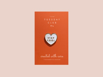 Stay Cool Enamel Pin product design minimal cool pin cool valentine conversation heart heart heart pin tuesday the tuesday club merchandise enamel pins soft enamel pin enamel pin stay cool futura typography
