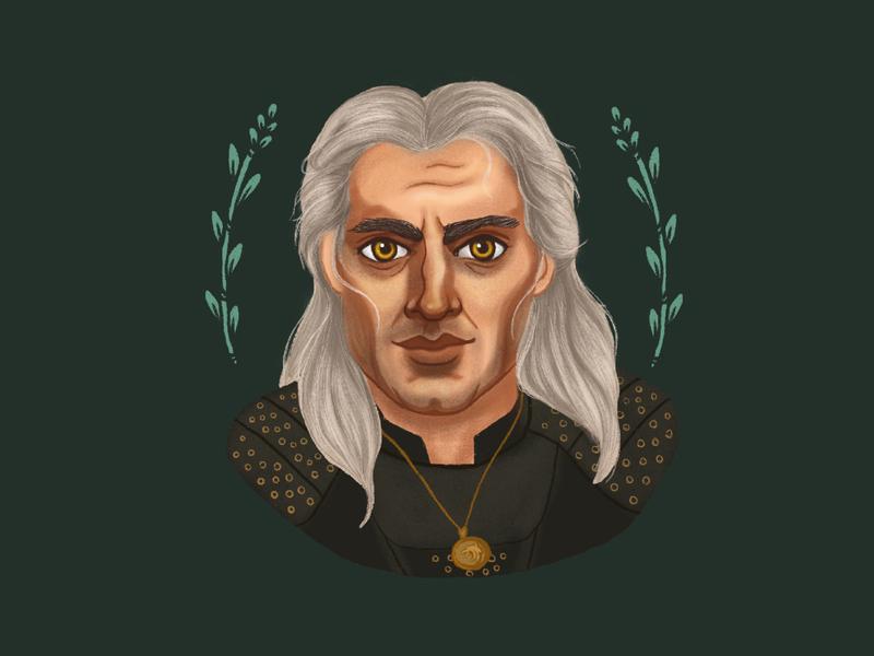 Geralt | The Witcher wizard hero fantasy medieval geralt of rivia procreate digital illustration floral flower flowers characterdesign character portrait illustration digital draw digital drawing witcher fan art fanart the witcher geralt