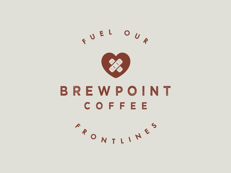 Fuel Our Frontlines Logo | Brewpoint Coffee caring give back initiative campaign coffeeshop type lockup typography logo design coffee frontlines medical coronavirus covid 19 first aid stamp lockup logo stamp stamp design stamp logo logo lockup logo