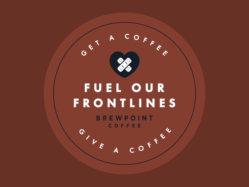 Fuel Our Frontlines Logo - Alt   Brewpoint Coffee icons bandaids coffee shop brewpoint coffee support coronavirus covid-19 medical care medical first aid frontlines branding logo design branding logo design sticker design sticker logo lockup stamp design logo stamp stamp logo