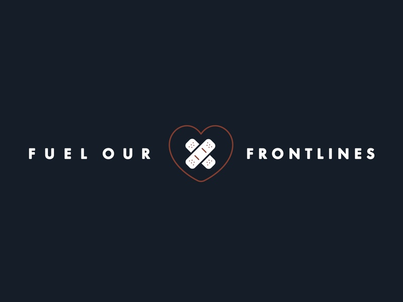 Fuel Our Frontlines Graphic | Brewpoint Coffee heart typography icons icon bandaids band aids care medical first aid covid-19 frontlines identity facebook banner social media brand identity brand design branding brand logo logo lockup