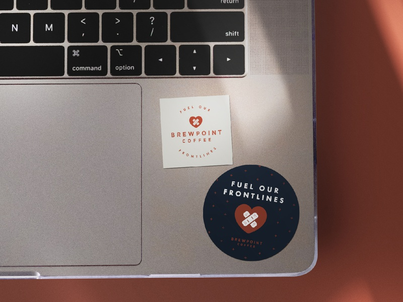 Fuel Our Frontlines Stickers | Brewpoint Coffee brand swag merchandise medical workers donate give back fuel our frontlines care first aid covid-19 coronavirus coffee shop brewpoint coffee mockup logo lockup logo stamp sticker design stickers