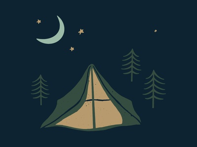 Grounds & Hounds Camp Out Scene illustration adventure wilderness outside trees campaign starry night sky illustration night sky nighttime illustration nighttime night starry night moon stars tent illustration camping illustration tent camping out camping