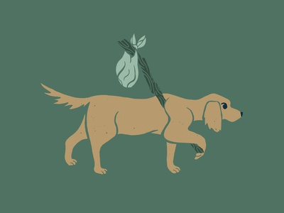 Grounds & Hounds Camp Out Golden Dog hiking coffee packaging coffee labrador golden retriever puppy cute animal bundle cute art cute illustration outside explore wilderness journey adventure knapsack bindle dog with bindle dog illustration dog