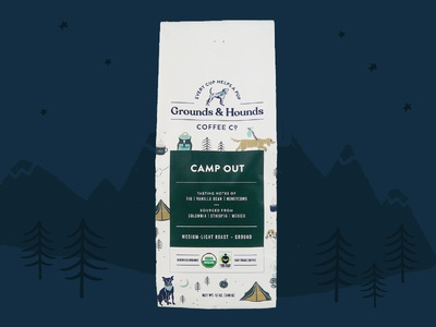 Grounds & Hounds Camp Out Packaging coffee grounds and hounds camp out camping dog illustration camping dog illustration dogs packaging design