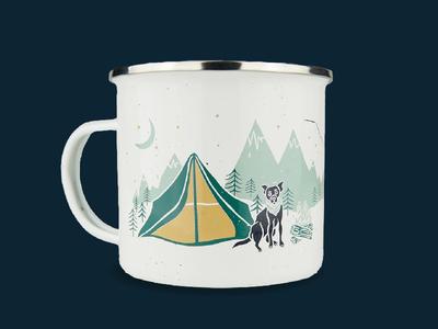 Camping Tin | Grounds & Hounds camping dog dog illustration illustration grounds and hounds merchandise design mug camping tin