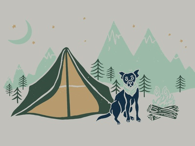 Camping Dog | Grounds & Hounds dog illustration cute puppy fire camp site tent dog bandana dog camping camping dog