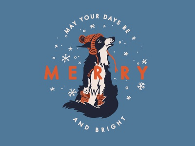 Merry & Bright (Winter Dog) merry and bright white christmas christmas winter dog