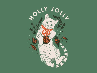 Holly Jolly (Christmas Kitty) tree boughs pine ornaments christmas christmas tree holly jolly winter tabby kitty christmas cat