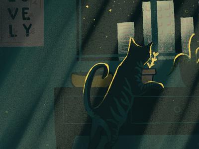 The Plant Predator apartment scene window cityscape aloe plant plants animal meow feline tabby kitty cat plant floral minimal design drawing digital digital illustration illustration