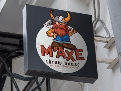 M'AXE Brand kansas city brand character fun business axe throwing type font color logo axe
