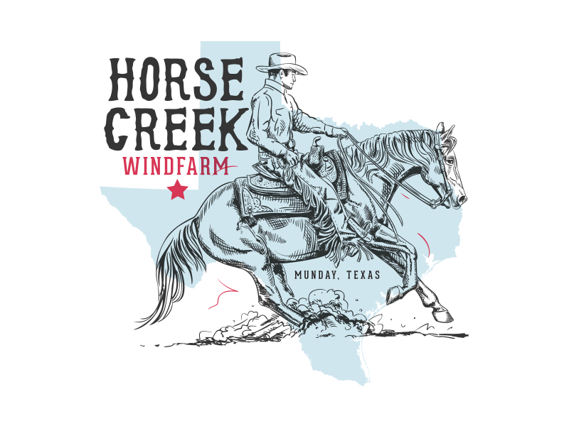Horse Creek Wind Farm state texas letter color type drawing hand drawn retro cowboy horse western vintage