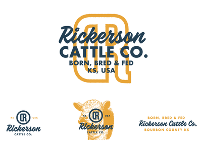 Rickerson Cattle Company - Brand logo identity vintage food farm ranch cow font type color branding