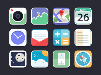 Flat Icon chiou icon ui flat colorful camera stock maps calender clock email calculator note gallery weather setting compass